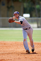 New York University Violets shortstop Jonathan Iaione (2) throws to first base during a game against the Edgewood Eagles on March 14, 2017 at Terry Park in Fort Myers, Florida.  NYU defeated Edgewood 12-7.  (Mike Janes/Four Seam Images)