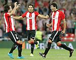 Athletic de Bilbao's Benat Etxebarria (l), Xabier Etxeita (c) and Mikel San Jose celebrate goal during Supercup of Spain 1st match.August 14,2015. (ALTERPHOTOS/Acero)