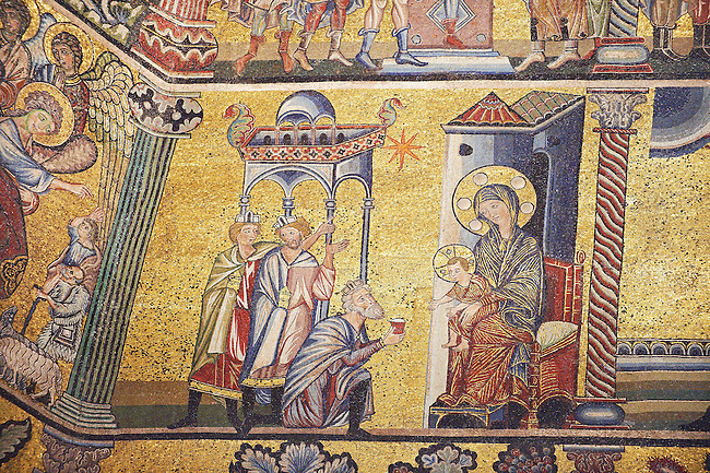 The Medieval mosaics of the ceiling of The Baptistry of Florence Duomo ( Battistero di San Giovanni ) showing the Three Wise Men giving gifts to the Baby Jesus ,  started in 1225 by Venetian craftsmen in a Byzantine style and completed in the 14th century. Florence Italy