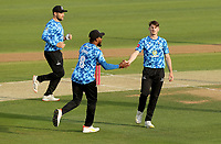 George Garton of Sussex celebrates taking the wicket of Tom Westley during Essex Eagles vs Sussex Sharks, Vitality Blast T20 Cricket at The Cloudfm County Ground on 15th June 2021
