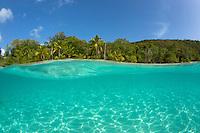 Split level view of Salomon Beach<br /> Virgin Islands National Park<br /> St. John<br /> US Virgin Islands