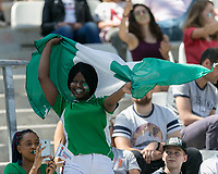 GRENOBLE, FRANCE - JUNE 12: WWC 2019 Nigerian fan during a game between Korea Republic and Nigeria at Stade des Alpes on June 12, 2019 in Grenoble, France.