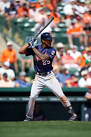 Minnesota Twins center fielder Byron Buxton (25) at bat during a Spring Training game against the Baltimore Orioles on March 7, 2016 at Ed Smith Stadium in Sarasota, Florida.  Minnesota defeated Baltimore 3-0.  (Mike Janes/Four Seam Images)