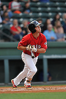 Second baseman Chad De La Guerra (20) of the Greenville Drive bats in a game against the Columbia Fireflies on Friday, April 22, 2016, at Fluor Field at the West End in Greenville, South Carolina. Columbia won, 5-3. (Tom Priddy/Four Seam Images)