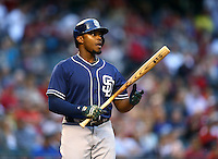 May 8, 2015; Phoenix, AZ, USA; San Diego Padres outfielder Justin Upton against the Arizona Diamondbacks at Chase Field. The Padres defeated the Diamondbacks 6-5. Mandatory Credit: Mark J. Rebilas-USA TODAY Sports