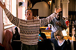 The 'Toronto Blessing' Evangelical church of St Nicholas Ashill Norfolk.  Stuart Wilkinson in a trance receiving the word Our Lord.