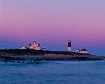 Rhode Island Sound, RI<br /> Point Judith Lighthouse (1857) windows reflecting sunset, Narraganset