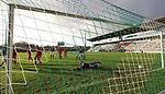 22.11.2020, Dietmar-Scholze-Stadion an der Lohmuehle, Luebeck, GER, 3. Liga, VfB Luebeck vs FC Bayern Muenchen II <br /> <br /> im Bild / picture shows <br /> Tor zum 1:0 . Torschütze/Torschuetze Yannick Deichmann (VfB Luebeck) trifft zum 1:0 ins Tor von Torwart Ron-Thorben Hoffmann (FC Bayern Muenchen II) <br /> <br /> DFB REGULATIONS PROHIBIT ANY USE OF PHOTOGRAPHS AS IMAGE SEQUENCES AND/OR QUASI-VIDEO.<br /> <br /> Foto © nordphoto / Tauchnitz