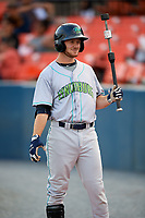 Lynchburg Hillcats right fielder Trenton Brooks (13) warms up before the second game of a doubleheader against the Frederick Keys on June 12, 2018 at Nymeo Field at Harry Grove Stadium in Frederick, Maryland.  Frederick defeated Lynchburg 8-1.  (Mike Janes/Four Seam Images)
