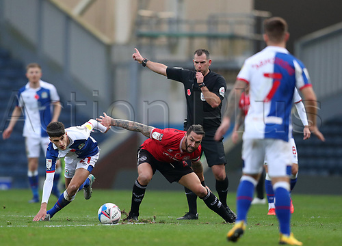 7th November 2020; Ewood Park, Blackburn, Lancashire, England; English Football League Championship Football, Blackburn Rovers versus Queens Park Rangers; John Buckley of Blackburn Rovers is fouled by Yoann Barbet of Queens Park Rangers