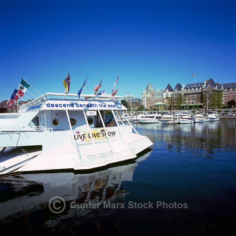 Victoria, BC, Vancouver Island, British Columbia, Canada - Undersea Gardens and Fairmont Empress Hotel at Inner Harbour