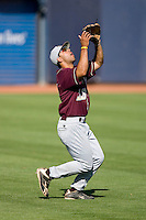 Left fielder Spenser Payne #33 of the Boston College Eagles settles under a fly ball at Durham Bulls Athletic Park May 20, 2009 in Durham, North Carolina. (Photo by Brian Westerholt / Four Seam Images)