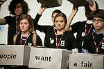 """On the opening day of the Copenhagen summit, TckTckTck - an unprecedented alliance of civil society organisations -delived its petition which more than 10 million people have signed, calling for world leaders to seal a fair, ambitious and binding climate deal at the talks...15 young people from around the world held large scale """"building blocks"""" which spell out """"10 million people expect a fair, ambitious and binding deal"""" to show world leaders that all the elements required for an effective climate treaty are present...Young people from around the world handed over the petition to UNFCCC Executive Secretary Yvo de Boer and Danish Climate Minister and the President of COP15 Connie Hedegaard. Leah Wickham, from Fiji, will spoke briefly on behalf of the 10 million people expecting a real deal at Copenhagen. Credit: Robert vanWaarden"""
