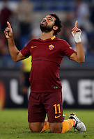Calcio, Europa League: Roma vs Astra Giurgiu. Roma, stadio Olimpico, 29 settembre 2016.<br /> Roma's Mohamed Salah celebrates after scoring during the Europa League Group E soccer match between Roma and Astra Giurgiu at Rome's Olympic stadium, 29 September 2016. Roma won 4-0.<br /> UPDATE IMAGES PRESS/Isabella Bonotto