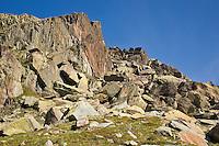 Parc National du Mercantour.  Chaos of multi-coloured rocks in the Vallee des Merveilles, GR52, Alpes-Maritimes, Provence, France.