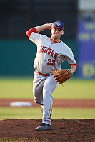 Auburn Doubledays starting pitcher Wil Crowe (23) delivers a warmup pitch during a game against the Batavia Muckdogs on August 26, 2017 at Dwyer Stadium in Batavia, New York.  Batavia defeated Auburn 5-4.  (Mike Janes/Four Seam Images)
