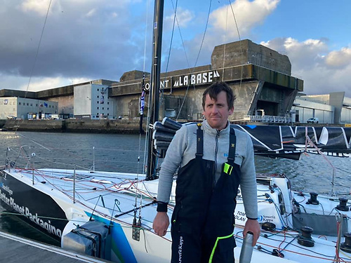 Tom Dolan - overbalanced while stepping back into the cockpit of his Figaro Beneteau 3 and landed heavily, hurting his ankle and injuring his hand