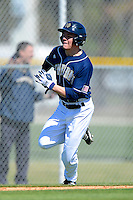 Notre Dame Fighting Irish outfielder Conor Biggio #10 rounds third to score a run during a game against the Mercer Bears at the Buck O'Neil Complex on February 17, 2013 in Sarasota, Florida.  Mercer defeated Notre Dame 5-4.  (Mike Janes/Four Seam Images)