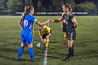 Genk's midfielder Sien Vandersanden (10) , referee Lois Otte and OHL's midfielder Lenie Onzia (18) pictured during a female soccer game between  Racing Genk Ladies and Oud Heverlee Leuven on the fourth matchday of the 2020 - 2021 season of Belgian Scooore Womens Super League , friday 9 th of October 2020  in Genk , Belgium . PHOTO SPORTPIX.BE | SPP | STIJN AUDOOREN