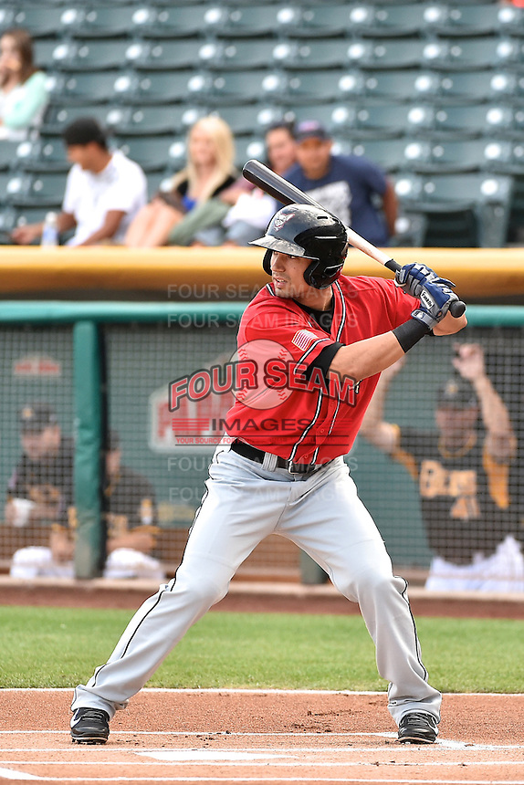 Jace Peterson (5) of the El Paso Chihuahuas at bat against the Salt Lake Bees in Pacific Coast League action at Smith's Ballpark on August 7, 2014 in Salt Lake City, Utah.  (Stephen Smith/Four Seam Images)