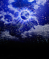 Photo illustration of sky, stars and kirlian energy.