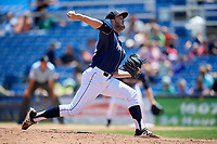 Binghamton Rumble Ponies relief pitcher Austin McGeorge (13) delivers a pitch during a game against the Altoona Curve on June 14, 2018 at NYSEG Stadium in Binghamton, New York.  Altoona defeated Binghamton 9-2.  (Mike Janes/Four Seam Images)