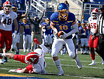 BROOKINGS, SD - MARCH 13: Jaxon Janke #10 of the South Dakota State Jackrabbits breaks the goal line for a touchdown against the Youngstown State Penguins at Dana J. Dykhouse Stadium on March 13, 2021 in Brookings, South Dakota. (Photo by Dave Eggen/Inertia)