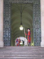 Swiss Guards stand watch and protect the Pope, as they have for centuries