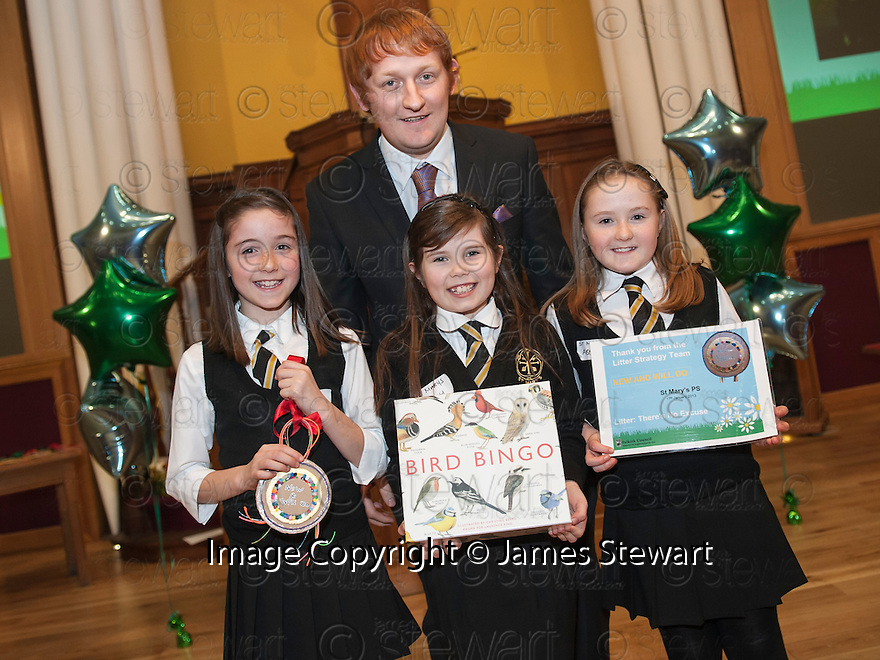 """Litter Strategy Awards 2013 : Councillor Craig R Martin presents the """"New & Will Do"""" award to joint winners, St Mary's Primary School , Bo'ness."""