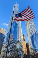 America,New York, T, Manhattan, Liberty Tower,USA flag