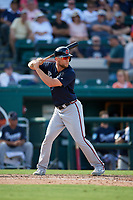 Atlanta Braves pinch hitter Connor Lien (97) at bat during a Grapefruit League Spring Training game against the Detroit Tigers on March 2, 2019 at Publix Field at Joker Marchant Stadium in Lakeland, Florida.  Tigers defeated the Braves 7-4.  (Mike Janes/Four Seam Images)