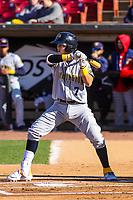 Burlington Bees shortstop Livan Soto (7) at bat during a Midwest League game against the Wisconsin Timber Rattlers on April 26, 2019 at Fox Cities Stadium in Appleton, Wisconsin. Wisconsin defeated Burlington 2-0. (Brad Krause/Four Seam Images)