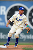 Lexington Legends second baseman Yowill Espinal #3 during a game against the Greenville Drive on April 18, 2013 at Whitaker Bank Ballpark in Lexington, Kentucky.  Lexington defeated Greenville 12-3.  (Mike Janes/Four Seam Images)