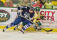 4 January 2014:  Yale University Bulldog forward Trent Ruffolo, a Junior from Coral Springs, FL, in third period action against the University of Vermont Catamounts at Gutterson Fieldhouse in Burlington, Vermont. With an empty net and seconds remaining, the Cats came back to tie the game 3-3 against the 10th seeded Bulldogs. Mandatory Credit: Ed Wolfstein Photo *** RAW (NEF) Image File Available ***
