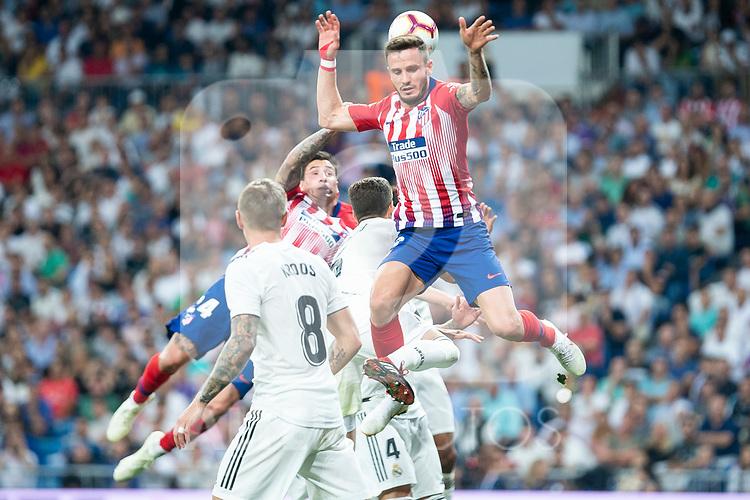 Real Madrid Toni Kroos and Atletico de Madrid Saul Niguez and Jose Maria Gimenez during La Liga match between Real Madrid and Atletico de Madrid at Santiago Bernabeu Stadium in Madrid, Spain. September 29, 2018. (ALTERPHOTOS/Borja B.Hojas)