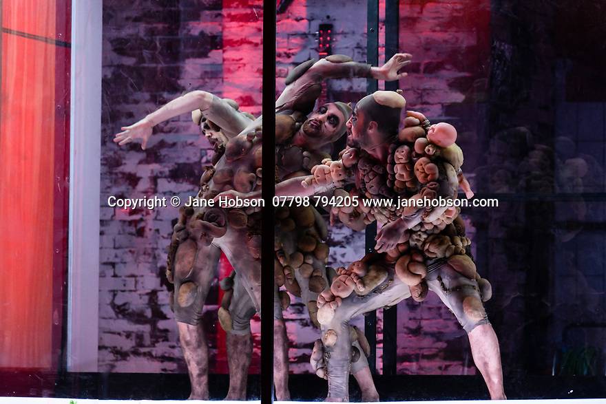 """EMBARGOED UNTIL 23:00 FRIDAY 18 OCTOBER 2019: London, UK. 16.10.2019.  English National Opera presents """"The Mask of Orpheus"""", by Sir Harrison Birthwhistle, libretto by Peter Zinovieff, at the London Coliseum, in its first London restaging in the 30 years since its premiere, coinciding with the celebration of Sir Harrison's 85th birthday. Directed by Daniel Kramer, with lighting design by Peter Mumford, set design by Lizzie Clachan and costume design by Daniel Lismore. Picture shows: The company. Photograph © Jane Hobson."""