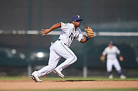 Princeton Rays shortstop Wander Franco (6) ranges to his left during the first game of a doubleheader against the Johnson City Cardinals on August 17, 2018 at Hunnicutt Field in Princeton, Virginia.  Johnson City defeated Princeton 6-4.  (Mike Janes/Four Seam Images)