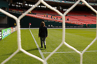 Referee Sandra Serafini inspects the end line before the match. The women's national team of the United States defeated Canada 6-0 during an international friendly at Robert F. Kennedy Memorial Stadium in Washington, D. C., on May 10, 2008.