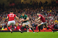 Pictured: Garry Ringrose of Ireland in action during the Guinness six nations match between Wales and Ireland at the Principality Stadium, Cardiff, Wales, UK.<br /> Saturday 16 March 2019
