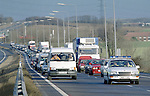 Pix: Shaun Flannery/shaunflanneryphotography.com...COPYRIGHT PICTURE>>SHAUN FLANNERY>01302-570814>>07778315553>>..20th February 1996..South Yorkshire Police perform a 'rolling road block' on the A1 Doncaster bypass.