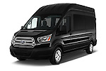 2016 Ford Transit 350-XLT-Wagon-High-Roof-Pass-Slide-148WB 4 Door Passenger Van Angular Front stock photos of front three quarter view