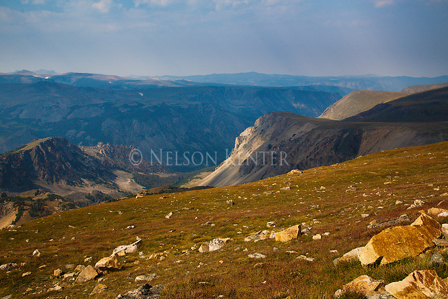 mountains in the absaroka beartooth wilderness area from the beartooth highway in monana and wyoming