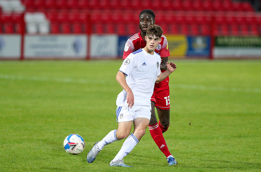 Leeds United U21's Sam Leverett beats Accrington Stanley's Mohammed Sangare<br /> <br /> Photographer Alex Dodd/CameraSport<br /> <br /> EFL Trophy Northern Section Group G - Accrington Stanley v Leeds United U21 - Tuesday 8th September 2020 - Crown Ground - Accrington<br />  <br /> World Copyright © 2020 CameraSport. All rights reserved. 43 Linden Ave. Countesthorpe. Leicester. England. LE8 5PG - Tel: +44 (0) 116 277 4147 - admin@camerasport.com - www.camerasport.com