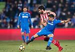 Mauro Wilney Arambarri Rosa of Getafe CF (font) fights for the ball with Raul Garcia Escudero of Athletic Club de Bilbao (back) during the La Liga 2017-18 match between Getafe CF and Athletic Club at Coliseum Alfonso Perez on 19 January 2018 in Madrid, Spain. Photo by Diego Gonzalez / Power Sport Images