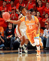CHARLOTTESVILLE, VA- NOVEMBER 20: Ariel Massengale #5 of the Tennessee Lady Volunteers handles the ball  in front of Simone Egwu #4 of the Virginia Cavaliers during the game on November 20, 2011 at the John Paul Jones Arena in Charlottesville, Virginia. Virginia defeated Tennessee in overtime 69-64. (Photo by Andrew Shurtleff/Getty Images) *** Local Caption *** Ariel Massengale;Simone Egwu