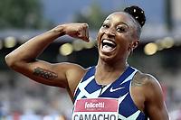 Jasmine Camacho-Quinn of Puerto Ricon reacts after winning the 100m hurdles women during the Wanda  Diamond League Golden Gala meeting at the Luigi Ridolfi stadium in Florence, Italy, June 10th, 2021. Photo Andrea Staccioli / Insidefoto