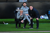 Steve Cooper Head Coach of Swansea City speaks with Mike Marsh, assistant first team coach for Swansea City during the Sky Bet Championship match between Swansea City and Huddersfield Town at the Liberty Stadium in Swansea, Wales, UK. Saturday 17 October 2020