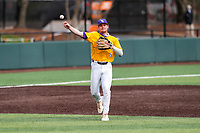LSU Tigers third baseman Cade Doughty (4) on defense against the Tennessee Volunteers on Robert M. Lindsay Field at Lindsey Nelson Stadium on March 28, 2021, in Knoxville, Tennessee. (Danny Parker/Four Seam Images)