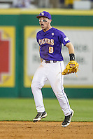 LSU Tigers shortstop Alex Bregman (8) celebrates after winning the Southeastern Conference baseball game against the Texas A&M Aggies on April 24, 2015 at Alex Box Stadium in Baton Rouge, Louisiana. LSU defeated Texas A&M 9-6. (Andrew Woolley/Four Seam Images)