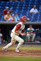 Clearwater Threshers third baseman Mitch Walding (10) at bat during the first game of a doubleheader against the Jupiter Hammerheads on July 25, 2015 at Bright House Field in Clearwater, Florida.  Jupiter defeated Clearwater 8-5.  (Mike Janes/Four Seam Images)